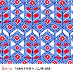 Persifor Tribal Print in Azure Blue. Bold Pantone colors. Unique Prints.