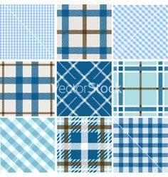 Set of plaid patterns vector on VectorStock®