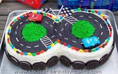 Check out these awesome race track cake ideas. Learn how to decorate an amazing homemade birthday cake from the incredible tips here. You'll also find loads of homemade cake ideas and DIY birthday cake inspiration. Lightning Mcqueen Torte, Lightning Mcqueen Birthday Cake, Lightening Mcqueen, Race Track Cake, Race Car Cakes, 8th Birthday Cake, Cool Birthday Cakes, Birthday Parties, Car Birthday