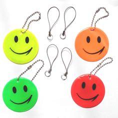 5 cái, Smile face, phản xạ, phản quang Móc Chìa Khóa, Mềm phản xạ, phản quang mặt dây chuyền, cho khả năng hiển thị an toàn sử dụng, miễn phí vận chuyển