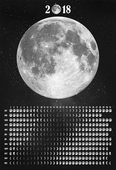 Moon Phases Calendar 2018 Τhis original artwork was made by hand for each and every moon phase. This poster has all 365 moon phases of 2018, one for every single day of the year. Make a great gift to your beloved ones