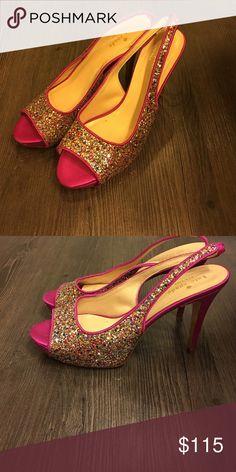 Kate Spade Pink glitter heels 🎀 Never worn, Kate Spade glitter heels size 7! kate spade Shoes Heels