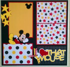 I love that Mouse 12x12 premade scrapbook layout by ohioscrapper