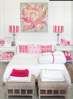 White & hot pink~ fun room!