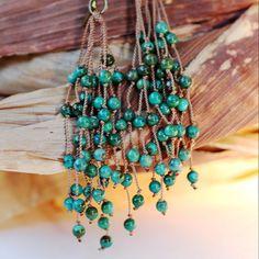 Tribal Turquoise Tassel Earrings by TwoHeartArt on Etsy