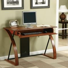 Classic Oak Wood Desk with Keyboard Tray - 16291371 - Overstock - Great Deals on Office Star Products Desks - Mobile