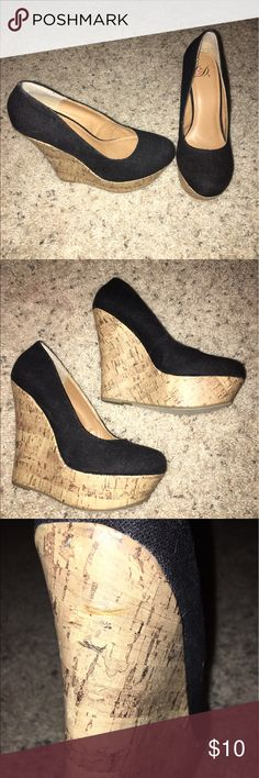 Black & Cork D Wedges Purchased recently on posh to wear to an event but worn another pair instead. One cut hardly noticeable, it's pictured. Size 8.5 but fit like a snug 8. Lowest price unless bundled. D Shoes Wedges