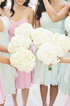Pale BMs dresses & hydrangeas  # Pastel Wedding ... Wedding ideas for brides, grooms, parents & planners ... https://itunes.apple.com/us/app/the-gold-wedding-planner/id498112599?ls=1=8 … plus how to organise an entire wedding ♥ The Gold Wedding Planner iPhone App ♥