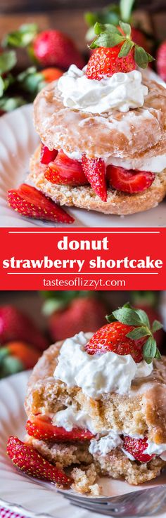 Donut Strawberry Shortcake {Easy Strawberry Shortcake Recipe} Breakfast and dessert heavens collide with this Donut Strawberry Shortcake. Top a sliced donut with strawberries in syrup. Amish Recipes, Easy Cake Recipes, Best Dessert Recipes, Easy Desserts, Sweet Desserts, Breakfast Recipes, Healthy Recipes, Strawberry Shortcake Skewers, Homemade Strawberry Shortcake