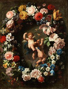 BLUMENGIRLANDE MIT PUTTI Öl auf Leinwand. 47,5 x 38,5 cm. Diese schöne Blumengirlande besitzt alle typischen Merkmale der römischen Stillebenmalerei der...