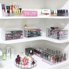 Extra storage shelves are great if you have lots of stuff. Shelves can be mounted to walls around the vanity, or freestanding to provide even more storage for an extensive makeup collection.