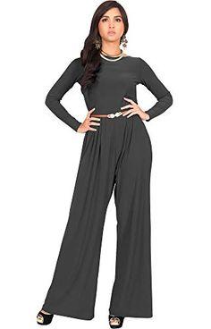 f55a76c9bbe1 KOH KOH Womens Long Sleeve Wide Leg Belted Formal Elegant Cocktail  Jumpsuit. Fall PantsJumpsuit ...