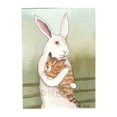 Original Watercolor Rabbit Painting  Little Tabby by bluedogrose, $12.00