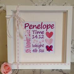New design and lovely personalised newborn gift.  This frame is truly a beautiful keepsake gift.