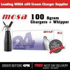 100 Nitrous Oxide, nos, noz, n2o Mosa 8g cream chargers nos dispenser + cream whipper £57.50