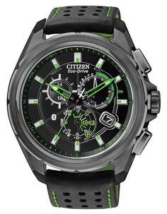 Citizen Eco-Drive Mens Proximity Chronograph with Bluetooth 4.0 - Black w/ Green