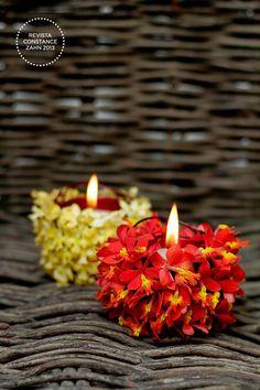 Casamento na Praia - Vela com Flores (Decoração: Flor e Forma | Foto: Constance Zahn)