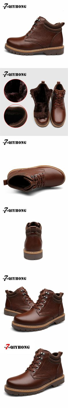 Genuine Leather Martin Outdoor Snow Boots Thickening Warm Winter Boots QIYHONG Brand Men Shoes  Men'S Military Boots Size 38-48