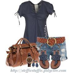 Casual Blue- dark blue short sleeve shirt, jean shorts and sandals
