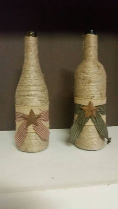 Items similar to Hand made Primitive wine bottles on Etsy - Crafts Wine Bottle Art, Diy Bottle, Wine Bottle Crafts, Mason Jar Crafts, Mason Jars, Primitive Crafts, Primitive Snowmen, Primitive Christmas, Country Christmas