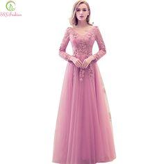 Ssyfashion 2017 nowa suknia sweet różowe koronki haft dekolt długi rękaw  sukienka panny młodej bankiet elegancki strona suknia. Buy DressPink  DressFormal ... c1eb8389dcb2