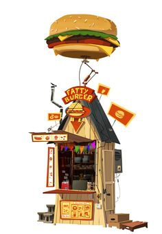 house, burger, joint, shack, illustration