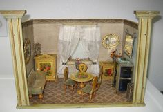 Antique miniature German Gottschalk doll house room box with paper litho floral furniture, 3/4 scale.