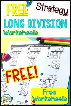 Differentiated Long Division Worksheets for FREE - Caffeine Queen Teacher <br> Grab these differentiated long division worksheets for FREE and dramatically boost student success and your teaching success!