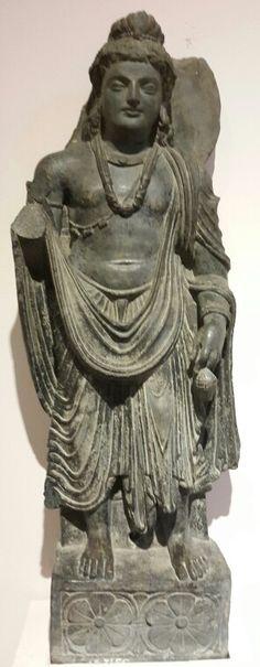 """""""Bodhisattva Maitrey. """" ( The Future Buddha). Gandhar School. 2nd Century BCE.  National Museum, New Delhi, India."""
