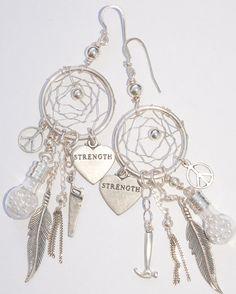 Xanadu Warrior Dream Catcher Earrings with Pearls of Wisdom (Sterling Silver), 199$