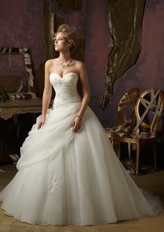 Robe de bal sans bretelles sweetheart de mariage robe en organza tulle - Robes de Mariage Boutique