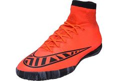 Get it at SoccerPro today! Nike MercurialX Proximo Indoor Shoes - Bright Crimson and Hot Lava