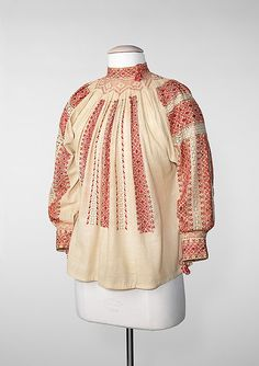 Blouse Date: fourth quarter century Culture: Romanian Medium: cotton, silk, metal Dimensions: Length at CB: 24 in. cm) Credit Line: Brooklyn Museum Costume Collection at The Metropolitan Museum of Art, Folk Costume, Costumes, Fashion Art, Fashion Outfits, Folk Embroidery, Embroidery Designs, Costume Collection, Costume Institute, Metropolitan Museum