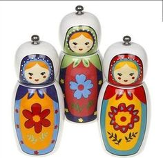 Salt/Pepper mill,Ceramic Kitchen,cooking accessory,Russian Doll design. | eBay
