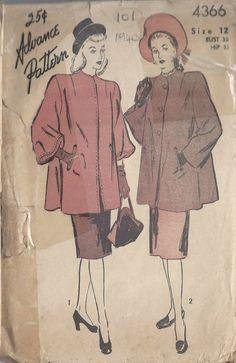 Misses Loose Fitting Coat Vintage Advance 4366 Sewing Pattern by PeoplePackages Coat Patterns, Clothing Patterns, Knitting Patterns, Vintage Outfits, Vintage Fashion, 1940s Fashion, Vintage Clothing, Vintage Coat, Vintage Dresses