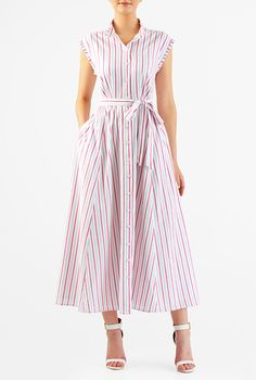 I <3 this Stripe cotton ruffle trim midi shirtdress from eShakti
