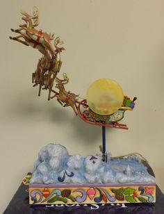 Jim Shore Santa Sleigh Masterpiece to All A Merry Night Christmas Reindeer Music | eBay
