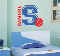 Boy Name Initial Baseball Sports Decal Vinyl Wall Lettering