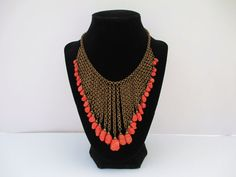 Miriam HASKELL CORAL NECKLACE Bib Fringe Style by TREASUREandSUCH, $285.00