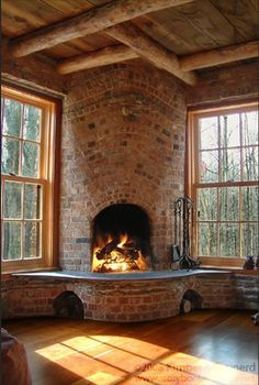 Tour A Real Storybook Cottage - love the interior fireplace., Tour A Real Storybook Cottage - love the interior fireplace. Tour A Real Storybook Cottage - love the interior fireplace. Tour A Real Storybook Cottag. Home Fireplace, Fireplace Design, Fireplace Ideas, Cottage Fireplace, Corner Fireplaces, Brick Fireplace, Fireplace Furniture, Rustic Fireplaces, Fireplace Windows