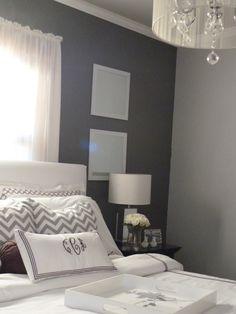 Bedroom Makeover - love the chevron/grey