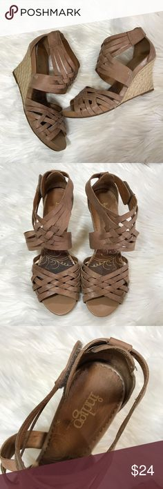 Indigo By Clarks Leather Strappy Wedges Super Cute Wedges! Size 10 Clarks Shoes Wedges
