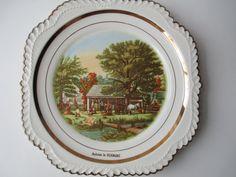 Vintage Autumn in Vermont Decorative Plate Cottage by jenscloset