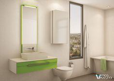 Salle de bain colorée i love how clean and fresh everything looks! Soho, Loft Design, Bath Vanities, Decoration, Toilet, Vanity, Mirror, Bathroom, Interior
