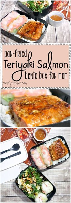 This recipe for Pan-Fried Teriyaki Salmon is so easy. And it's perfect for a grown-up bento box lunch for mom! LOL! #ad