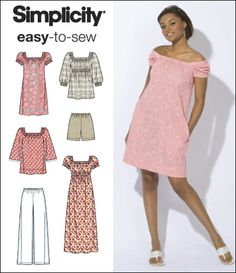 Simplicity 2616 Misses size 14-22. gathered peasant style knee length, floor length or hip length blouse or dress, pull on full pants