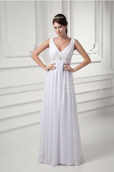 Stretch satin, Chiffon Floor-length V-neck White Modern, Terse Wedding Dresses