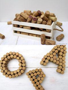 Una buena idea para reciclar el corcho de las botellas de vino - DIY Wine Cork Letters