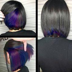 New Hair Color Unique Hidden Ideas Underlights Hair, Short Hair Styles, Natural Hair Styles, Short Hair With Color, Short Colorful Hair, Colored Short Hair, Hair Color Purple, Color Red, Dark Purple