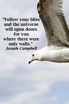 """""""Follow your bliss and the universe will open doors for you where there were only walls.""""  Joseph Campbell -- Enjoy wanderlust quotes at http://www.examiner.com/article/memorable-travel-quotes-on-wanderlust"""